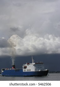 ferry in a stormy weather