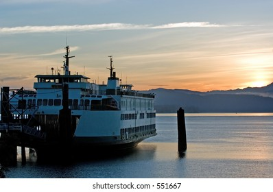 Ferry in sunrise