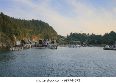 Ferry terminal at Horseshoe Bay, British Columbia seen from an arriving ship