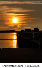 ferry terminal on Amrum in Sunset