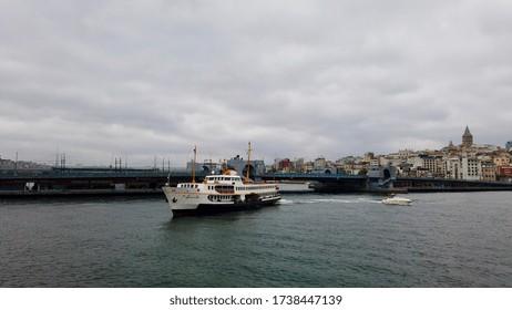 Ferry tour on Bosphorus, Galata Tower, Galata Bridge and empty city during the coronavirus pandemic / Istanbul, Turkey / 21 May 2020