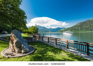 Ferry with tourist onboard at Zeller see Lake,Austria.