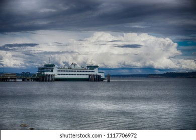 Ferryboat carrying people and goods on Puget Sound in Washington State