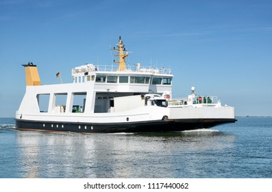 Ferryboat from Nordstrand Peninsula to Perllworm Island at North Sea,Schleswig-Holstein,Germany