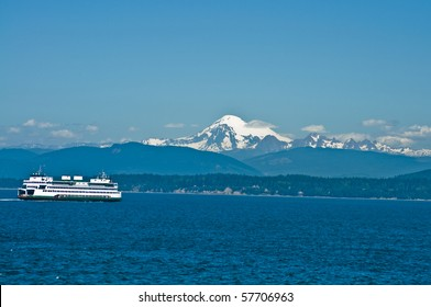 Ferryboat in the Puget Sound with Mount Baker in the background in Washington state on a beautiful sunny day
