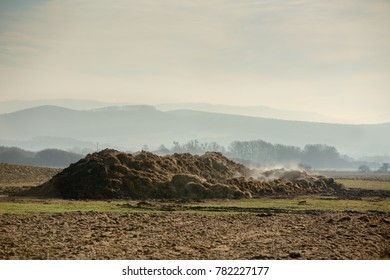 Fertilizer from cow manure and straw. Heap of manure, have been taken out on the agricultural field. In the background fog and silhouettes of mountains Slovakia, Europe.