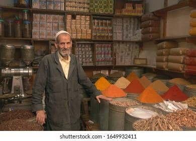 Fes, Fas-Meknas/Morocco - 08.14.2015: Business Man selling spice and herbs at Fes, Morocco