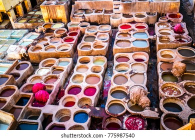 Fes leather dyeing factory