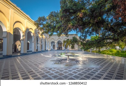 Fes, Morocco - 30 November, 2018: The courtyard to Dar Batha Museum in Fez Medina. Former royal palace and museum of national art, ethnography and the cultural activities. Madrasa inside interior