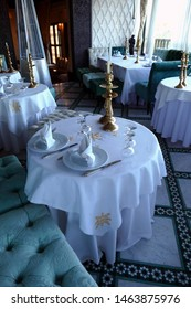 FES, MOROCCO - FEB 13, 2019 - Dining room of luxury boutique hotel in Riad La Maison Bleu, Fes, Morocco, Africa