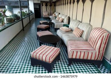 FES, MOROCCO - FEB 13, 2019 - Sitting area lounge of the Riad La Maison Bleu, Fes, Morocco, Africa