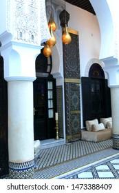 FES, MOROCCO - FEB 13, 2019 - Interior courtyard of the Riad La Maison Bleu, Fes, Morocco, Africa