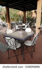 FES, MOROCCO - FEB 13, 2019 - Casual dining area lounge of the Riad La Maison Bleu, Fes, Morocco, Africa