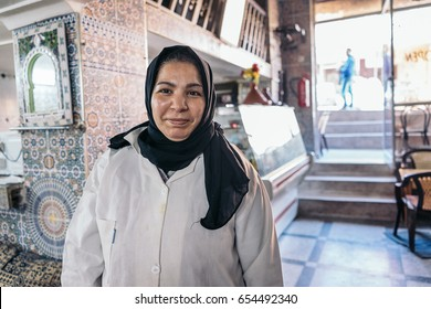 FES, MOROCCO - JANUARY 9, 2017: Portrait of a female cook in a family restaurant.