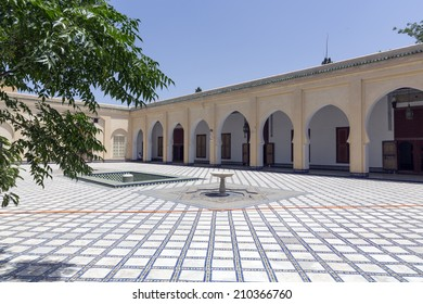 FES, MOROCCO- JULY 18: The courtyard of the Dar Batha Museum of Fes as on July 18, 2014 in Fes, Morocco.