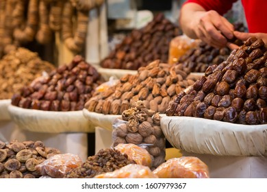 Fes, Morocco - March 2016 : Dates, dry fruits from a moroccan market shop in the Medina of Fes