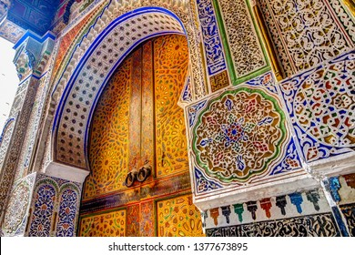Fes, Morocco - March 25, 2019: Architectural details of structures in Fez, Morocco