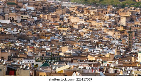 FES, MOROCCO - March 3: Satellite dishes on the roofs of Fes on March 3, 2013. Satellite TV in Morocco.