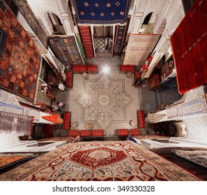 FES, MOROCCO - NOVEMBER 1, 2015: Historical carpet store in Fes Medina, Morocco