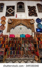 FES, MOROCCO - NOVEMBER 1, 2015: Historical leather factory store in Fes Medina, Morocco