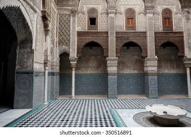FES, MOROCCO - NOVEMBER 1, 2015: Al-Attarine Madrasa, Fes medina, Morocco. It was built by the Marinid sultan Uthman II Abu Said in 1323-5.