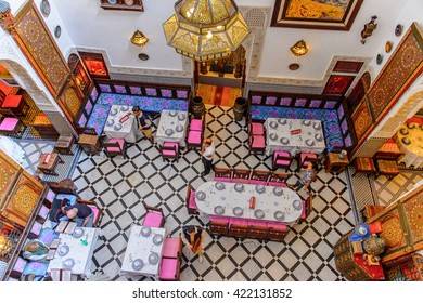 FES, MOROCCO - SEP 9, 2015: Market place of Fez, the second largest city of Morocco. Fez was the capital city of modern Morocco until 1925 and