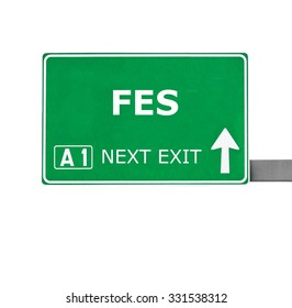 FES road sign isolated on white