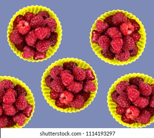 Fesh organic rapsberry with colourful summer minimalist setup