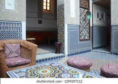 Fes/Morocco_19 Jan 2018: beautiful Moroccan design with intrigue tiles and traditional furnishing in a Riad. Riad is a type of traditional Moroccan house or palace with an interior garden or courtyard