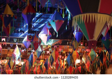 Festa Junina, Party colourful decoration in typical traditional Festa Junina South American latin party