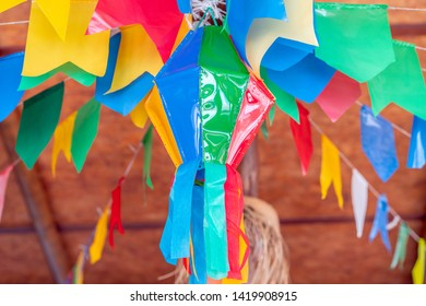 Festa Junina, Sao Joao, with Party small colorful Flags it happens in June, mostly in Northeast of Brazil.