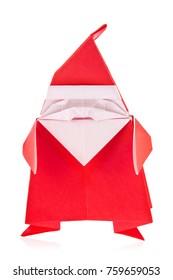 Festal Santa Claus of origami, isolated on white background.