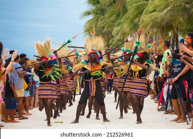 Festival Ati-Atihan on Boracay, Philippines, on January 12th 2014. Is celebrated every year in January. Parade in carnival costumes.