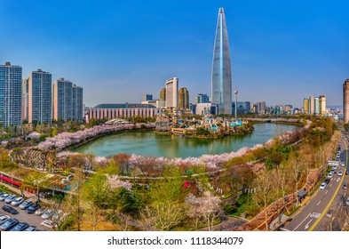 festival cherry blossom at lotte world mall:11 april 2018 seoul korea
