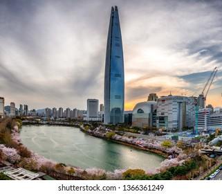 festival cherry blossoms at seokcheon lake in seoul city south Korea: 8 April 2019