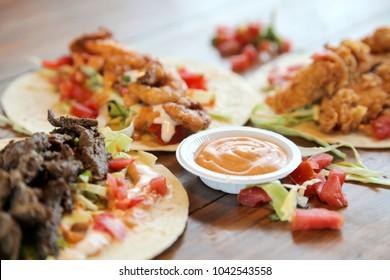 Festival Chicken beef prawn combo tortilla wrap tacos