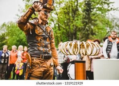 "Festival of the city Rezekne ""Seven Hills"", performance of live sculpture. Rezekne - Latvia, May 27 2017"
