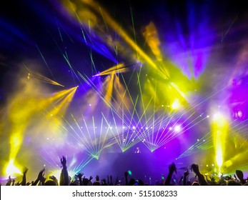 Festival of electronic music. Laser rays.
