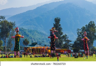 Festival of Kullu Dussehra is being celebrated by the locals. Landscape of Himachal Pradesh in India. Khajjiar and Dalhousie can be easily traveled from Chamba Hill station located in Himachal Pradesh