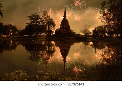 Festival of light at Sukothai historical park (world heritage)
