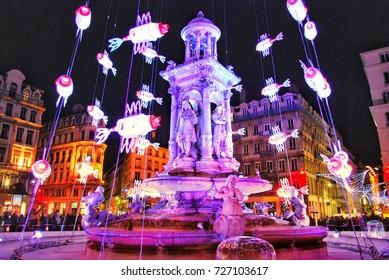 festival of lights / fête des lumières, jacobins square, Lyon, France
