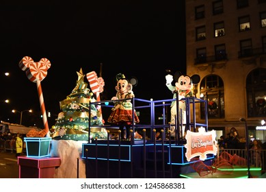 Festival of Lights Parade on Michigan Avenue with Mickey and Minnie mouse leading the parade on a Disney float, Chicago, IL, November 18th, 2017