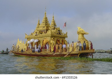 The festival of Phaung Daw Oo Pagoda at Inle Lake that Karaweik Barge leading the procession which rowing around the Lake.