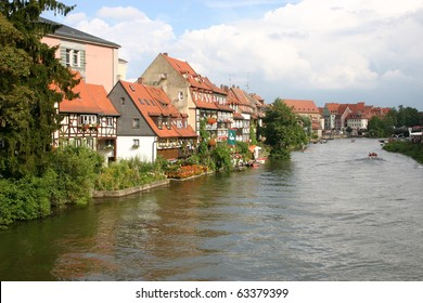 The festival at the Regnitz river in the  town Bamberg, Germany