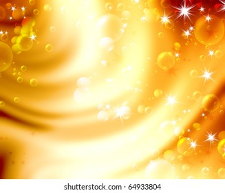 festive air bubbles, abstract golden background