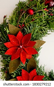 Festive background with an Advent wreath. Christmas lights. Handmade decoration.