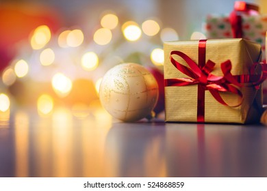 Festive background for Christmas composition, Wooden desk with Christmas decoration and holidays lights, Holidays background, Film effect, Christmas lights