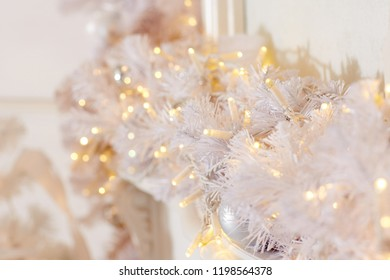 Festive background from Christmas tree decoration. Chrismas and New Year background.
