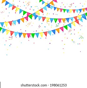 Festive background with colored flags and confetti, illustration.