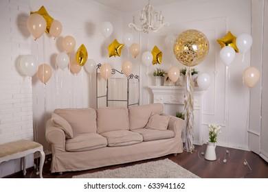 Festive background decoration for birthday celebration. Studio